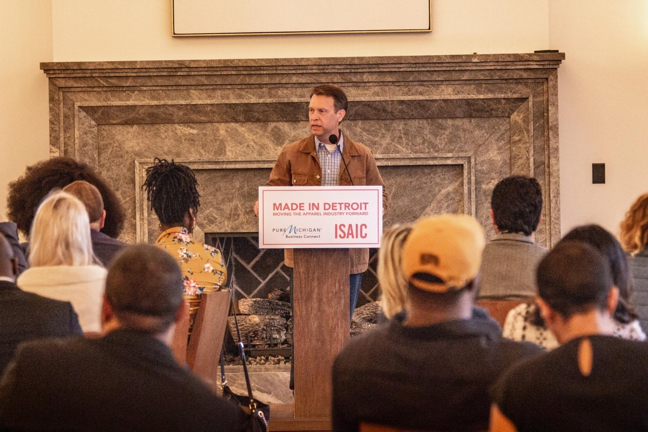 "Tony Ambroza, chief brand officer, Carhartt, Inc. speaking at the ""Made in Detroit: Moving the Apparel Industry Forward"" event at Shinola Hotel."